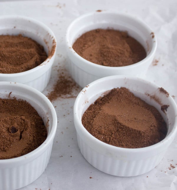 cocoa and sugar mixture in individual ramekins