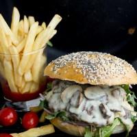 Mushroom Swiss Cheese Burger