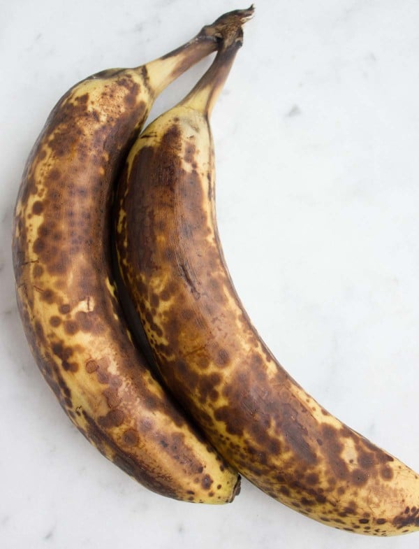 perfectly ripe and spotted bananas