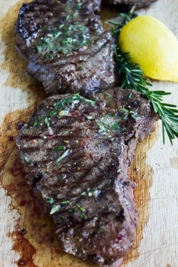 Grilled Steak with Rosemary Lemon Butter