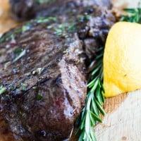 Grilled Steak with Rosemary Lemon Butter
