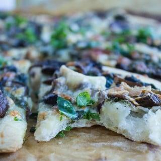 Kale Mushroom Brie Pizza