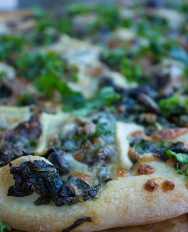 close-up of Kale Mushroom Brie Pizza