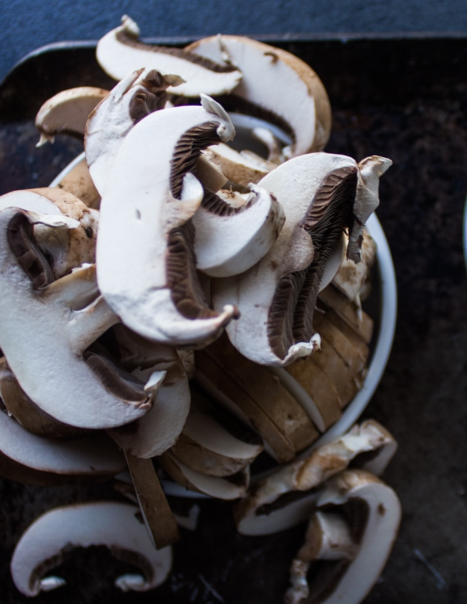 A plate with sliced cremini mushrooms