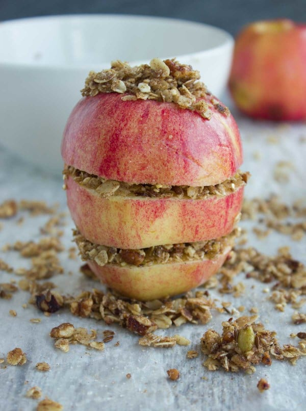apple filled with granola crunch ready to be baked
