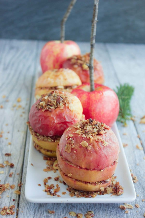Baked Apples with Granola Crunch on a white plate