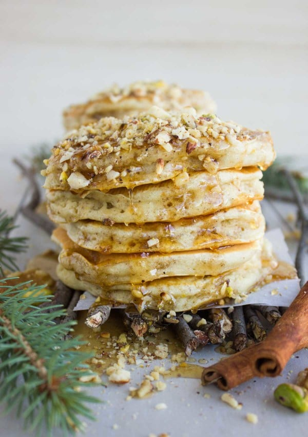 close-up of a stack of Baklava Pancakes with Maple Syrup