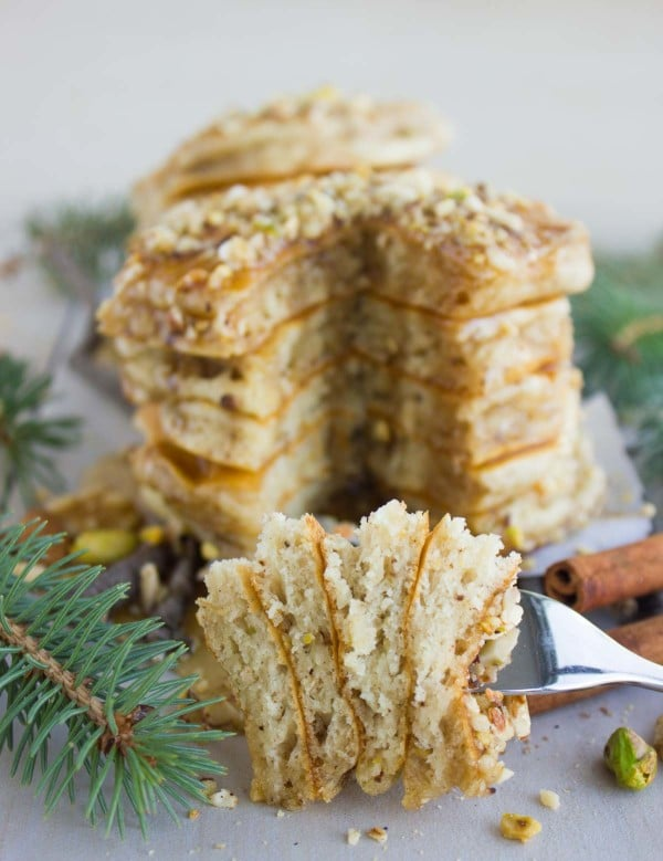 Baklava Pancakes with Maple Syrup