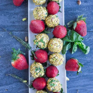 Goat Cheese Pistachio Coated Strawberries