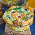 Kale Veggie Mini Frittata on a piece of bread