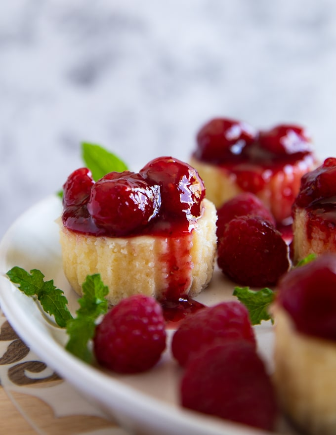 one mini cheesecake with raspberry sauce close up showing the dense texture
