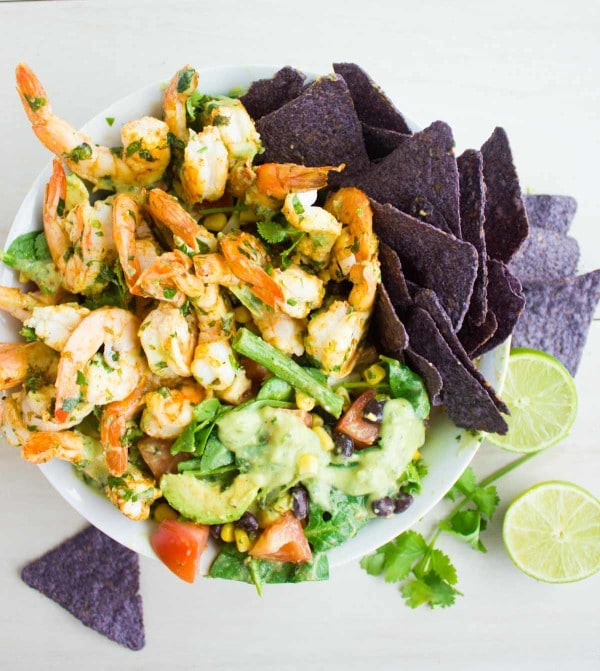 Mexican Style Shrimp Salad with Avocado Dressing and corn chips on the side