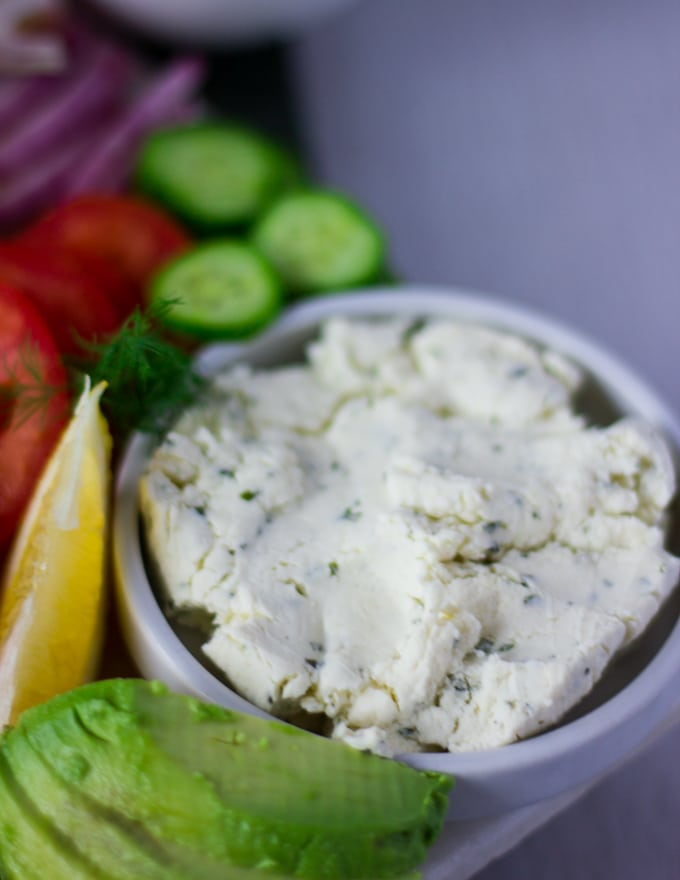 herbed cream cheese in a bowl