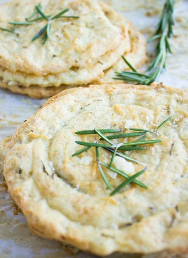 close-up of Mashed Potato Rosemary Crisps