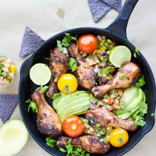 Salsa Avocado Roast Chicken Skillet