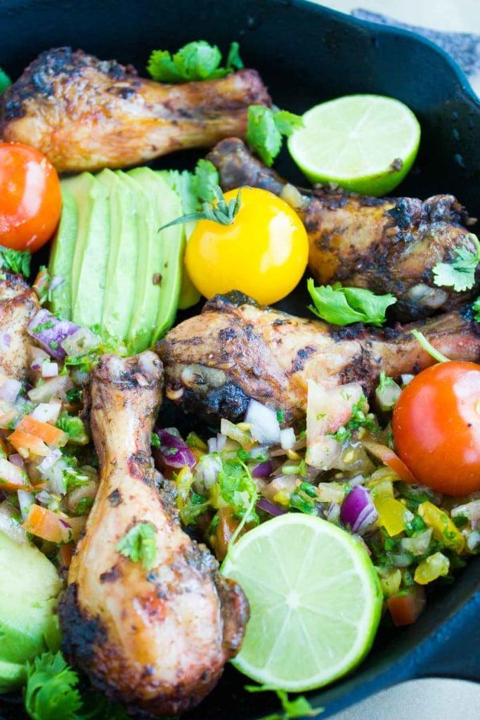 Salsa Avocado Roast Chicken Skillet