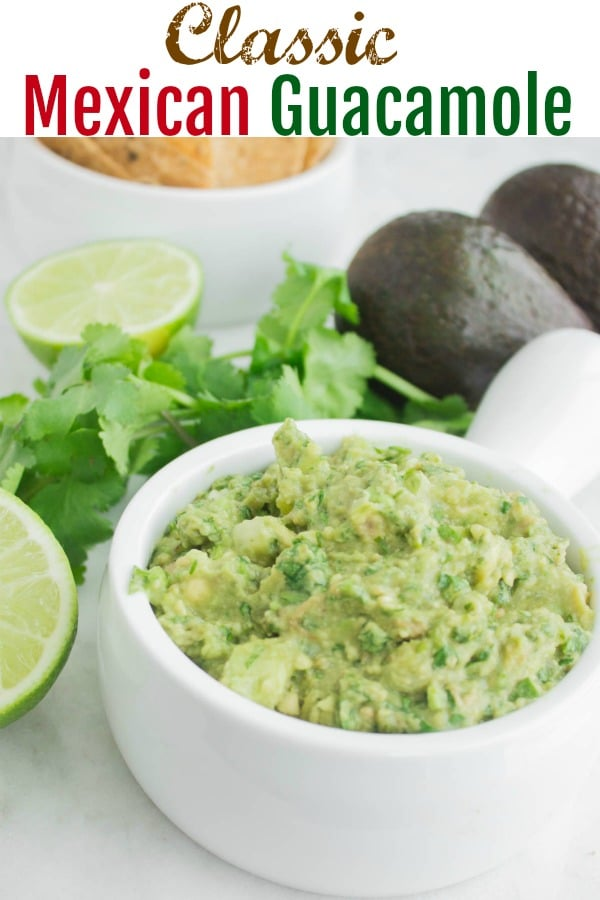 Classic Mexican Guacamole! You'll love this healthy Classic Mexican Guacamole because it's made with only 4 basic fresh ingredients yet offers just the right amount of tangy spice and flavor to compete with any restaurant- style guacamole! #guacamole, #Mexican, #dip, #nachos, #easy, #keto, #healthy