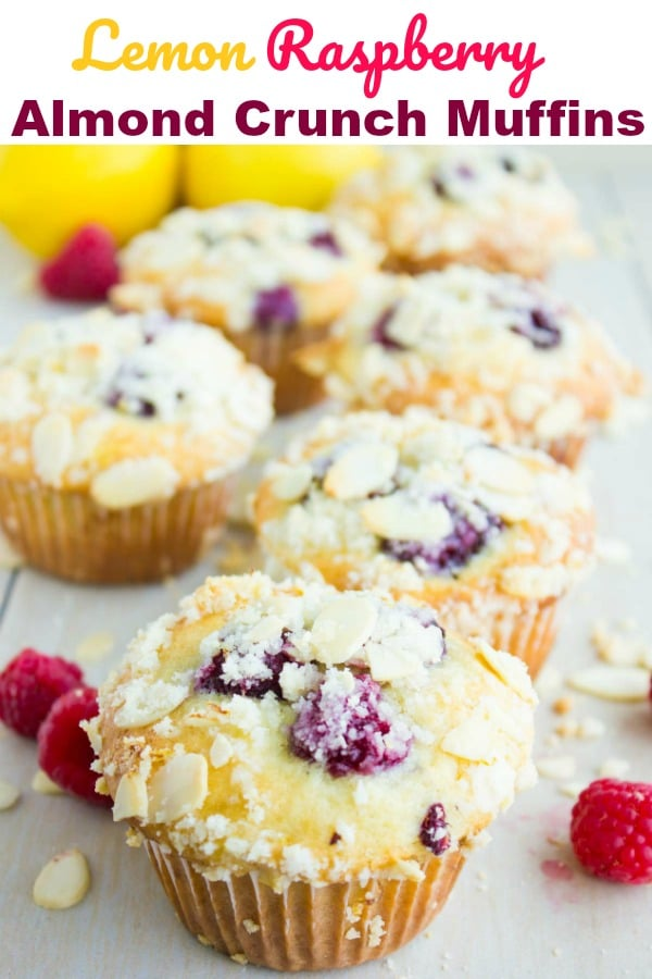Lemon Raspberry Muffins with Almond Crunch | These fresh Lemon Raspberry Muffins are light, zesty and crunchy! Picture a moist lemon muffinspeckled with fresh raspberries, and topped with a sweet buttery almond crunch - a simple muffins recipe you have to try! #brunch, #breakfast, #muffins, #easy, #streusel, #baking,