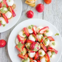 Strawberry Caprese Salad on a white plate