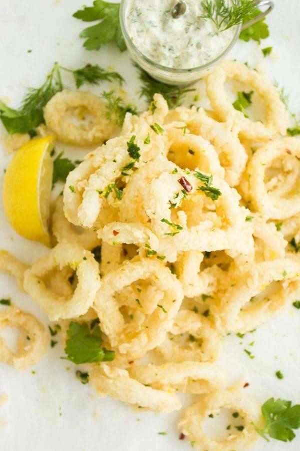 Zesty Calamari with Tartar Sauce