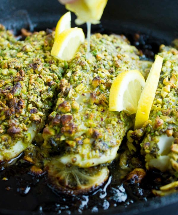 Pesto Pistachio Fish Fillet Two Purple Figs