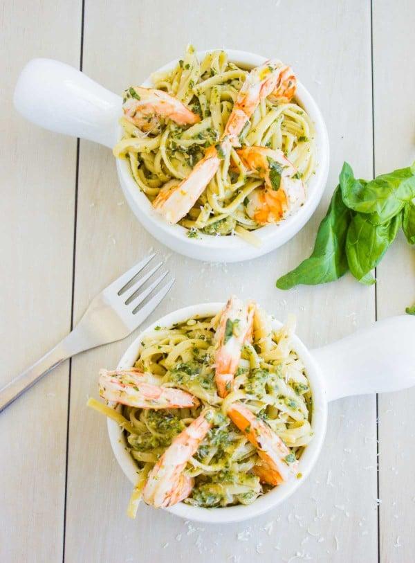 Shrimp Kale Artichoke Pesto Pasta