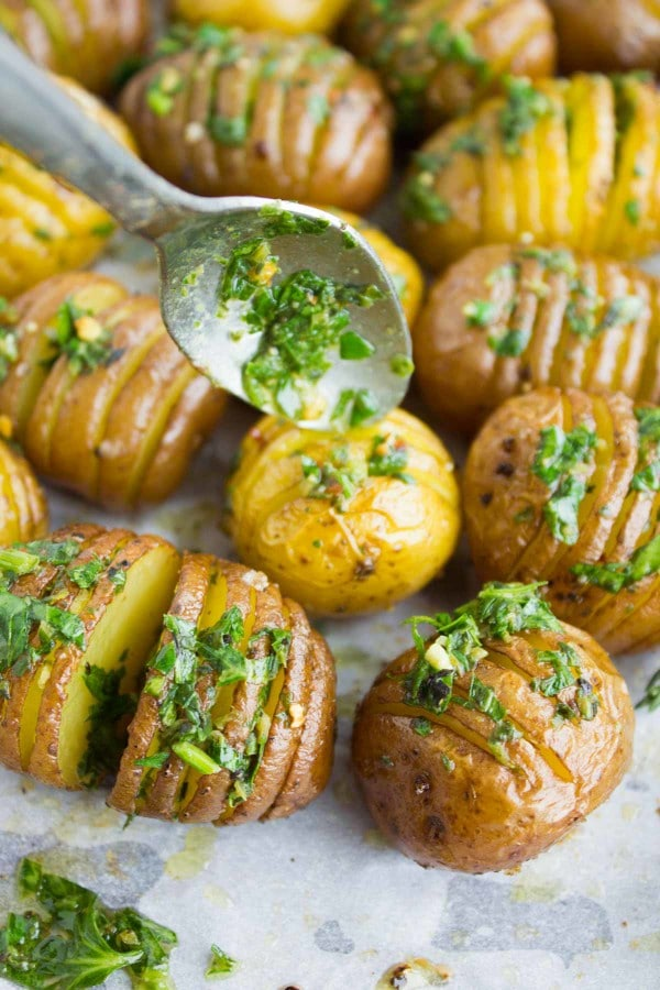 Herb Roast Potatoes drizzled with herb butter