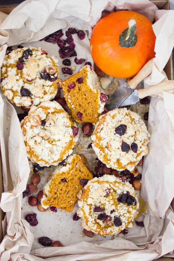 Hazelnut Cranberry Pumpkin Muffins