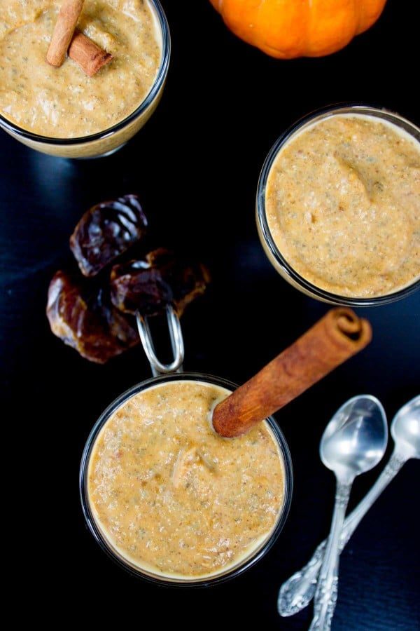 overhead of Instant Chia Pumpkin Pudding with dates and cinnamon sticks on the side