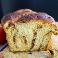 Persimmon Hazelnut Raisin Swirl Loaf. A perfect cross between a brioche and a babka only with much less butter and much more flavor! www.twopurplefigs.com