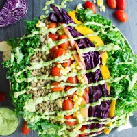 Mexican Style Lentil Detox Salad. The perfect way to cook lentils and to make the perfect detox salad with a Mexican twist drizzled with an AMAZIG guacamole dressing! Vegan and gluten free. www.twopurplefigs.com