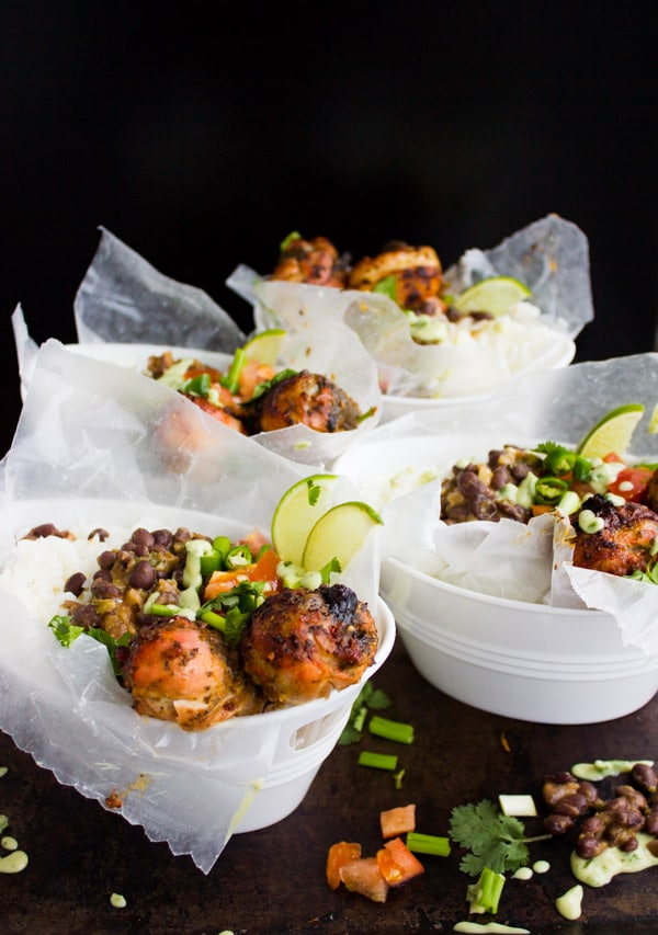Cuban Black Beans Chicken and Rice served in four paper cups