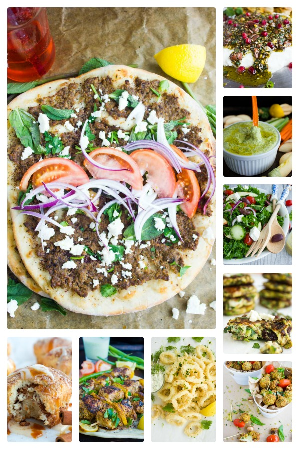 a collage of the best Mediterranean Super Bowl Recipes for a Super Bowl Party