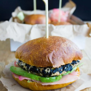 Nori Crust Asian Salmon Burgers. Super refreshing burgers with ginger, garlic, lime, cilantro and wasabi. Quick, easy, REAL fresh tasty food. www.twopurplefigs.com