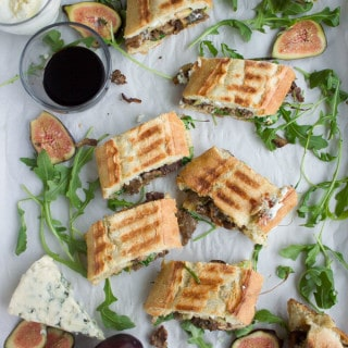 Blue Cheese Philly Steak Sandwich. Easy, quick steak sandwiches with mushrooms, blue cheese garlic dip and figs. A crowd pleaser for steak lovers! Get the recipe and SECRET tips on cooking the perfect steak! www.twopurplefigs.com