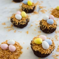 Crispy Coconut Chocolate Fudge Brownies topped with tiny Easter eggs