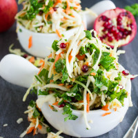Coleslaw with Kale Apple Pomegranate. Easy, Light, Refreshing, Zesty, Crunchy, Sweet and Satisfying! Vegan, Gluten Free, Healthy and SO good slaw that makes a perfect picnic, BBQ, potluck salad! Don't miss this recipe!