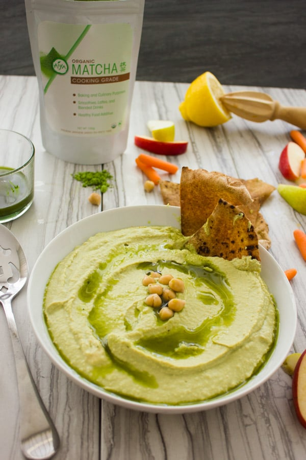 Matcha Power Hummus. This Hummus is the ultimate POWER dip--boosted with anti-oxidant, amino-acids and more from the Matcha green tea! tastes like the hummus you LOVE only slightly sweeter and earthier. Get the easy, Vegan and GF recipe to make asap! www.twopurplefigs.com