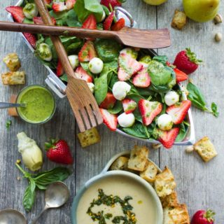 Strawberry Spinach Salad & Artichoke Soup Brunch