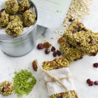 Banana Matcha Energy Bites. These are the BEST homemade protein and anti-oxidant packed energy bites ever--which you can make into energy bars or energy balls. No sugar added, perfectly vegan and gluten free. A favorite snack everyone will LOVE! www.twopurplefigs.com