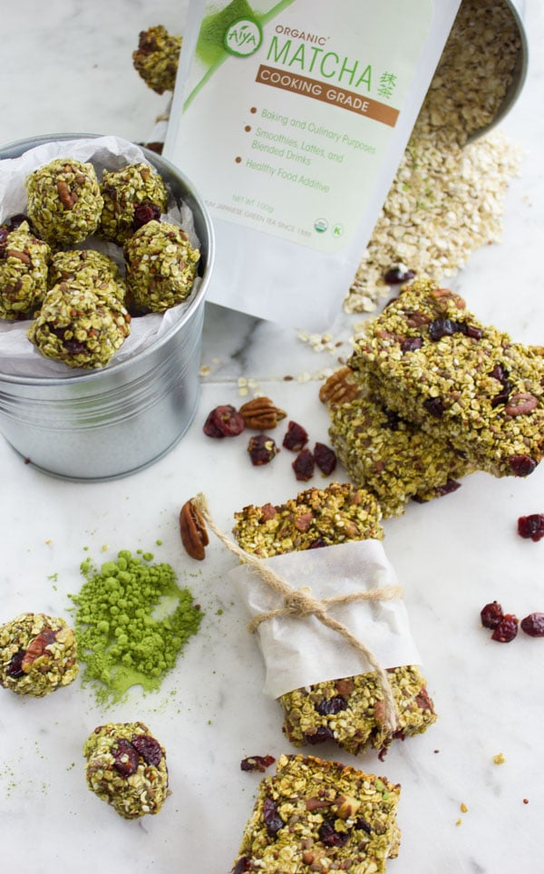 Banana Matcha Energy Bites shaped into granola bars and balls