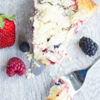 Cheesecake Streusel Raspberry Cake. The perfect start to a perfect day starts with this buttery tender cake, topped with a layer of cheesecake, a layer of berries and a layer of buttery almond streusel. My all time favorite recipe and I can't wait for you to try it! www.twopurplefigs.com