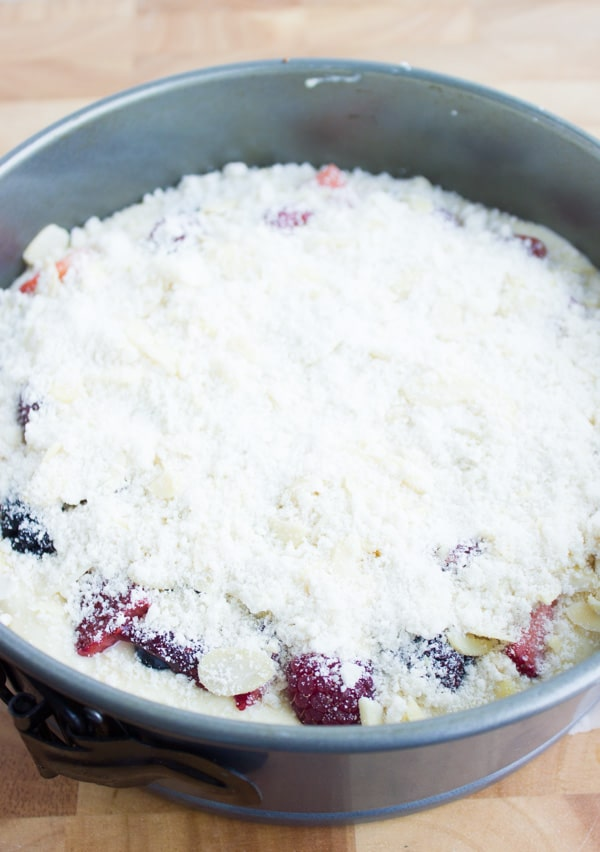 unbaked Raspberry Cake with Streusel topping ready to go into the oven