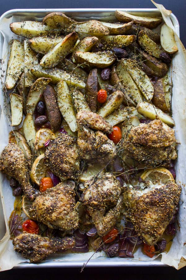 One Pan Chicken Potato Bake With Zaatar fresh out of the oven on a tray
