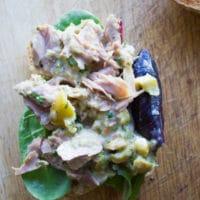 an open Spicy Chunky Tuna Sandwich topped with mayo-free tuna salad