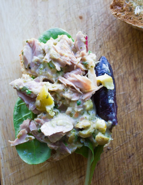 an open Spicy Chunky Tuna Sandwich topped with mayo-free tuna salad