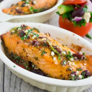 Baked Salmon With Greek Dressing. Easy, Quick One pan bake with a ton of flavor! Succulent salmon with at the best Honey Greek dressing and salad--step by step for a gourmet 20 mins CROWD pleaser! www.twopurplefigs.com