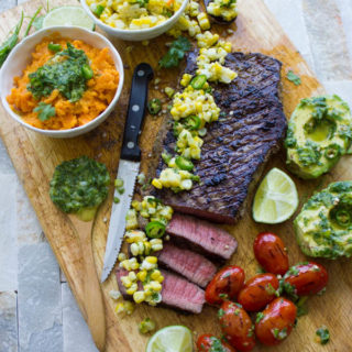 Grilled Sirloin Steak with Cilantro Corn Salsa. This is absolutely a no miss recipe while Grill Season is still on! Succulent mouthwatering grilled steak with a zesty, spicy, sweet and tangy cilantro corn salsa that takes steak to a whole new level! Quick, easy, simple 20 mins real meal deal! www.twopurplefigs.com