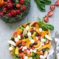 Summer Salad With Fruits & Basil. Swap your veggies, heavy dressings and bring on fruits, corn and some kale for a fresh BBQ salad favorite! Drizzled with a cream Basil Avocado Vegan dressing that you will use on anything and everything--not just the salad! Make this recipe today-www.twopurplefigs.com