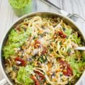 Broccoli Pesto Healthy Pasta Recipe. This is an ultimate crowd pleaser pasta--it will be your favorite, I promise! Flavor packed, simple, vegan, easy, and super quick! Broccoli lovers and haters will join hands here--this is a WINNER! Get the recipe now at www.twopurplefigs.com